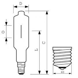 Bombillas de halogenuros metálicos PHILIPS LAMPARAS Lámpara de halogenuros metálicos HPI-T 2000W/642