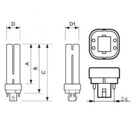 Bombillas y tubos convencionales PHILIPS Lámpara bajo consumo MASTER PL-C 4 Patillas18W