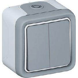 Conmutador doble monobloc gris Legrand Plexo 069715