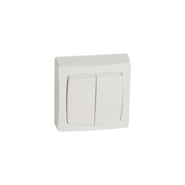 Doble interruptor conmutador superficie Monobloc Oteo 086020