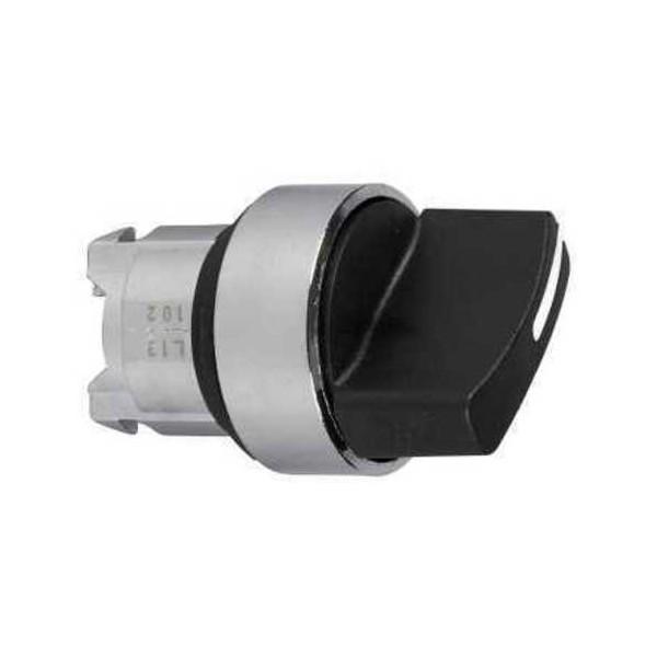 Cabeza selector maneta corta negra 3 fijacion embellecedor metalico ZB4BD3