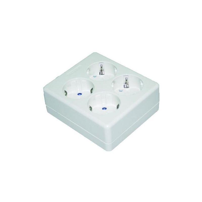 Base cuadrada 4 tomas enchufes 2P+T sin cable Solera