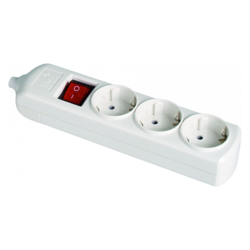 Base 3 enchufes 2P+T con interruptor 16A sin cable Solera