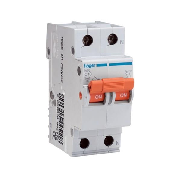Interruptor magnetotérmico 20A 1P+N Hager serie MN