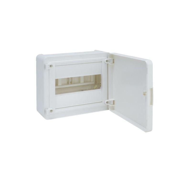Caja de superficie 1 fila 8 módulos con puerta blanca Hager