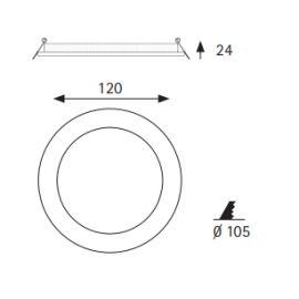 Downlights Led circulares JISO Downlight LED Micro panel 8W luz cálida Ø120mm aluminio