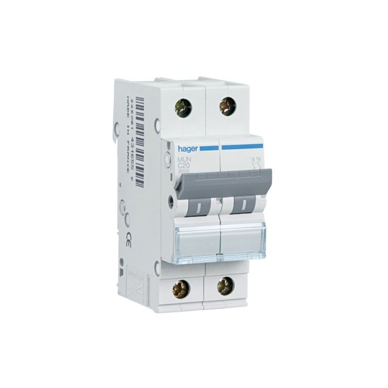 Interruptores magnetotérmicos HAGER Interruptor magnetotérmico 16A 2P Hager serie MU