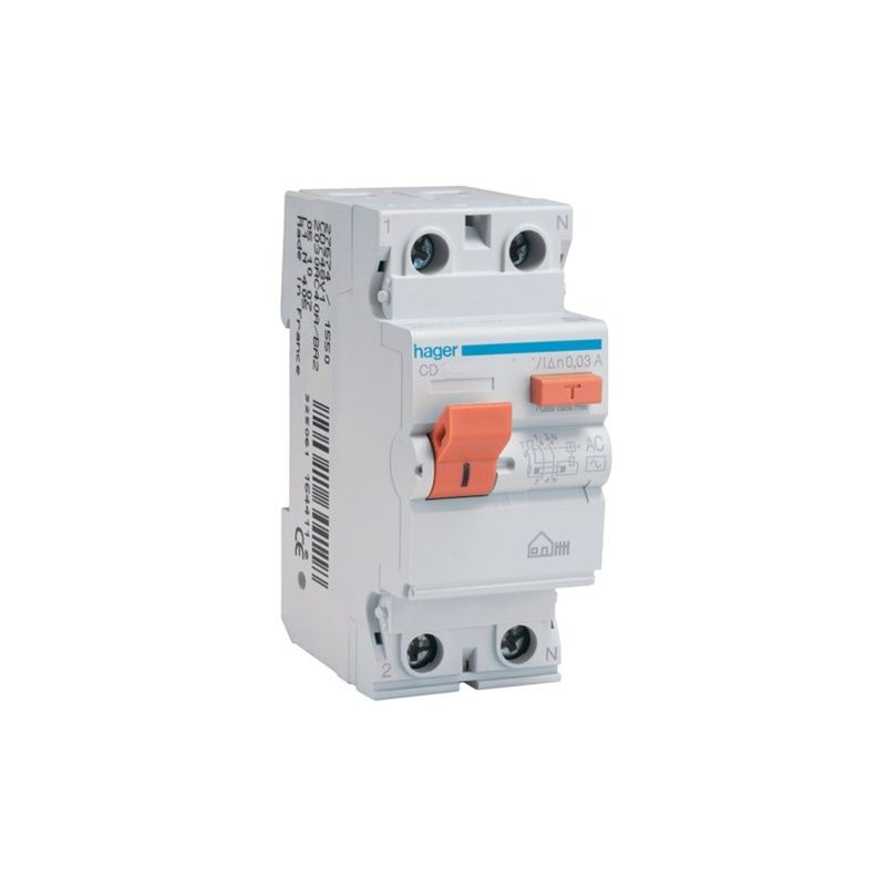 Diferencial 2P 25A 30mA tipo AC Hager CD728V