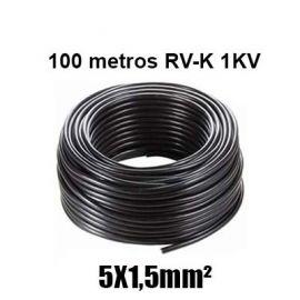 Manguera 5X1,5mm RV-K0.6/1KV Negra Rollo 100m