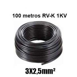 Manguera 3X2,5mm RV-K0.6/1KV Negra Rollo 100m