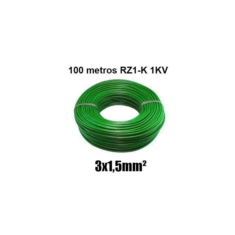 Manguera 3x1,5mm RZ1-K 0,6/1KV LH verde rollo 100m