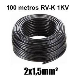 Manguera 2X1,5mm RV-K0.6/1KV Negra Rollo 100m