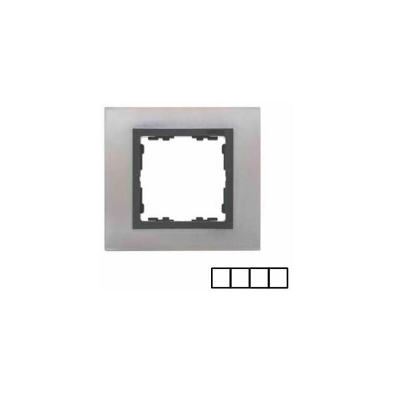 Interruptores y Enchufes por marca SIMON Marco 4 elementos acero inoxidable Simon 82 Nature 82847-37