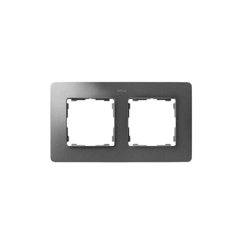 Mecanismos SIMON Marco 2 elementos aluminio frío base blanco Simon 82 Detail