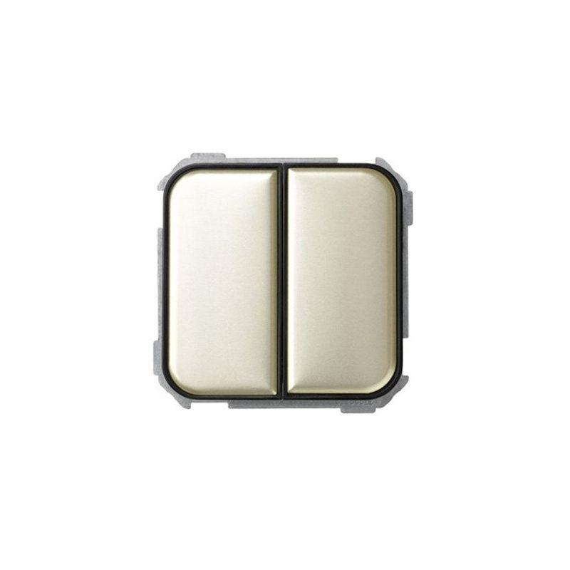 Interruptores y Enchufes por marca SIMON Interruptor doble marrón decorado Simon 31 Ref. 31398-36