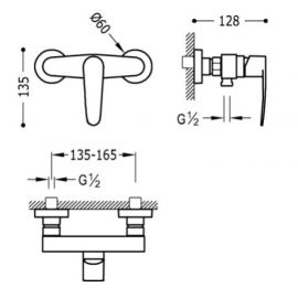 Griferia baño y cocina TRES Kit monomando de ducha acabado cromo Flat Tres