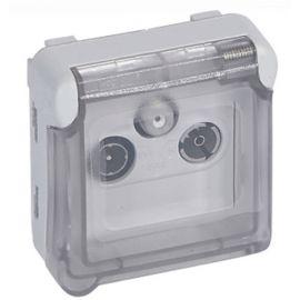 Base TV-R-SAT plexo modular gris Legrand 069558