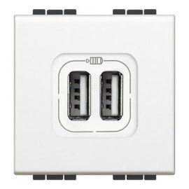 Cargador USB doble blanco Bticino Livinglight N4285C2