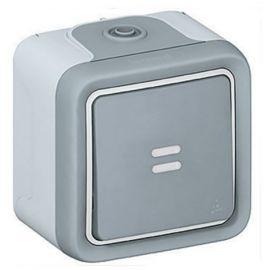 Interruptor-conmutador piloto monoblock superficie gris Plexo Legrand