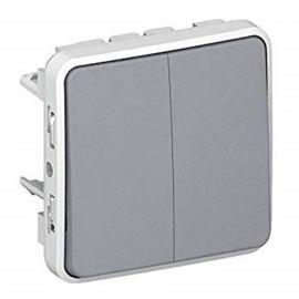 Conmutador doble componible gris Plexo Legrand 069525