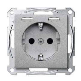 Cargador USB + toma enchufe aluminio Schneider Elegance MTN2366-0460