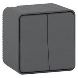 Doble conmutador gris monobloc Schneider Mureva Styl MUR35022