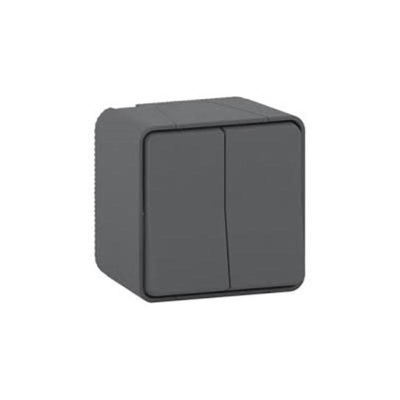 Interruptores y Enchufes por marca SCHNEIDER Doble conmutador gris monobloc Schneider Mureva Styl MUR35022