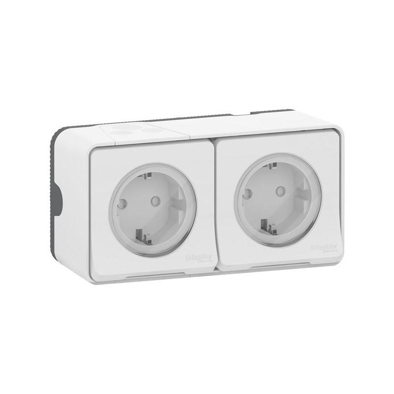 Interruptores y Enchufes por marca SCHNEIDER Enchufe doble schuko 2P+TT blanco horizontal monobloc Schneider Mureva Styl MUR40005