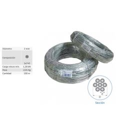 Rollo 100 mts Cable Vientos Acero Trenzado 2 mm 62021