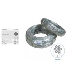 Rollo 100 mts Cable Vientos Acero Trenzado 4 mm 62007