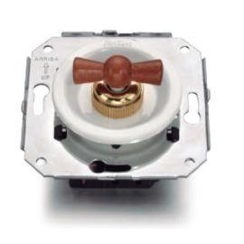 Interruptores y Enchufes por marca FONTINI Conmutador blanco + lazo madera haya color miel Fontini Venezia 35-308-16-2