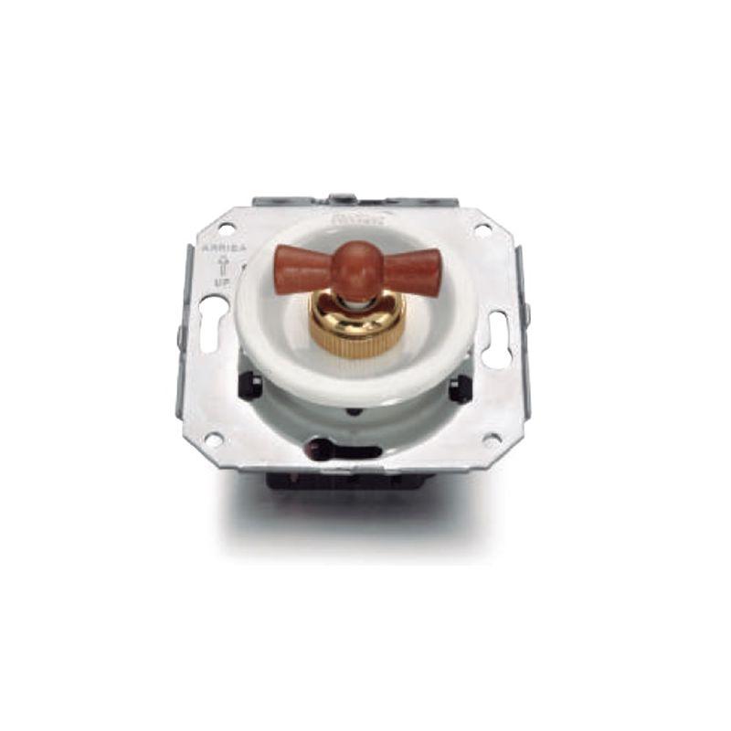 Interruptores y Enchufes por marca FONTINI Interruptor blanco + lazo madera haya color miel Fontini Venezia 35-306-16-2