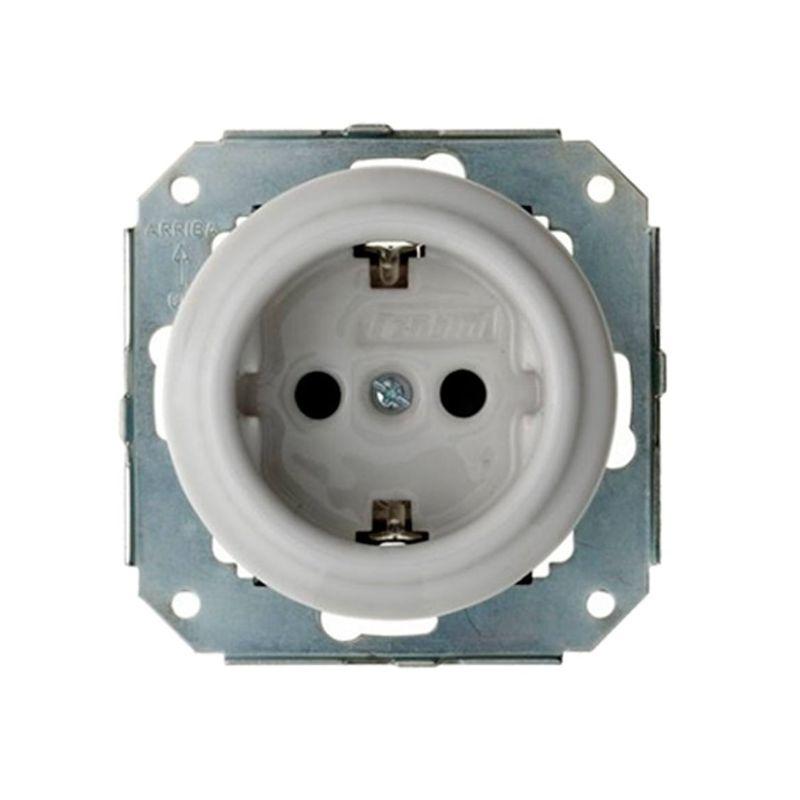 Interruptores y Enchufes por marca FONTINI Enchufe porcelana 2P+TT blanco Fontini Garby Colonial 31-212-17-2