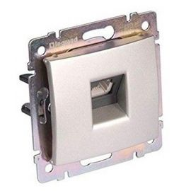 Base telefonica RJ12 6 contactos Aluminio Brillante Legrand 770187