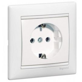 Base enchufe monobloc 2P+T lateral Blanco Legrand Valena 770086