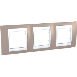 Marco 3 elementos horizontal Vison/Blanco Schneider Unica-Plus U6.006.874