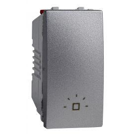 Pulsador estrecho Aluminio grabado luz Schneider Unica-Top U3.106.30L