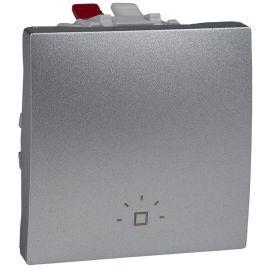 Pulsador ancho Aluminio grabado luz Schneider Unica-Top MGU3.206.30L