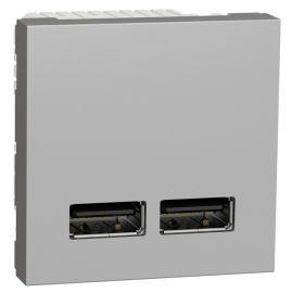 Cargador doble USB 2100mA Aluminio Schneider New Unica NU341830