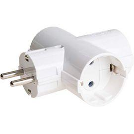 SOLERA 186 Adaptador bipolar de 3 tomas con T/T lateral 16A, 250 V Color Blanco