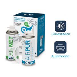 Airnet & Airpur Auto - Kit limpiador aire acondicionado vehículo 2x100ml