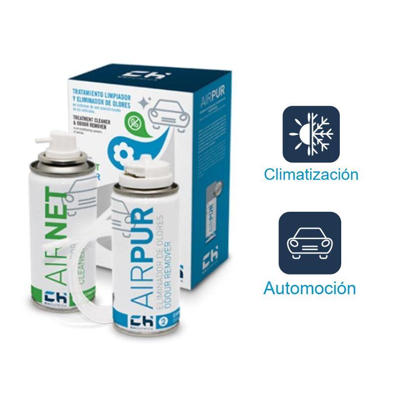 S.L. CH QUIMICA, S.L. Airnet & Airpur Auto - Kit limpiador aire acondicionado vehículo 2x100ml