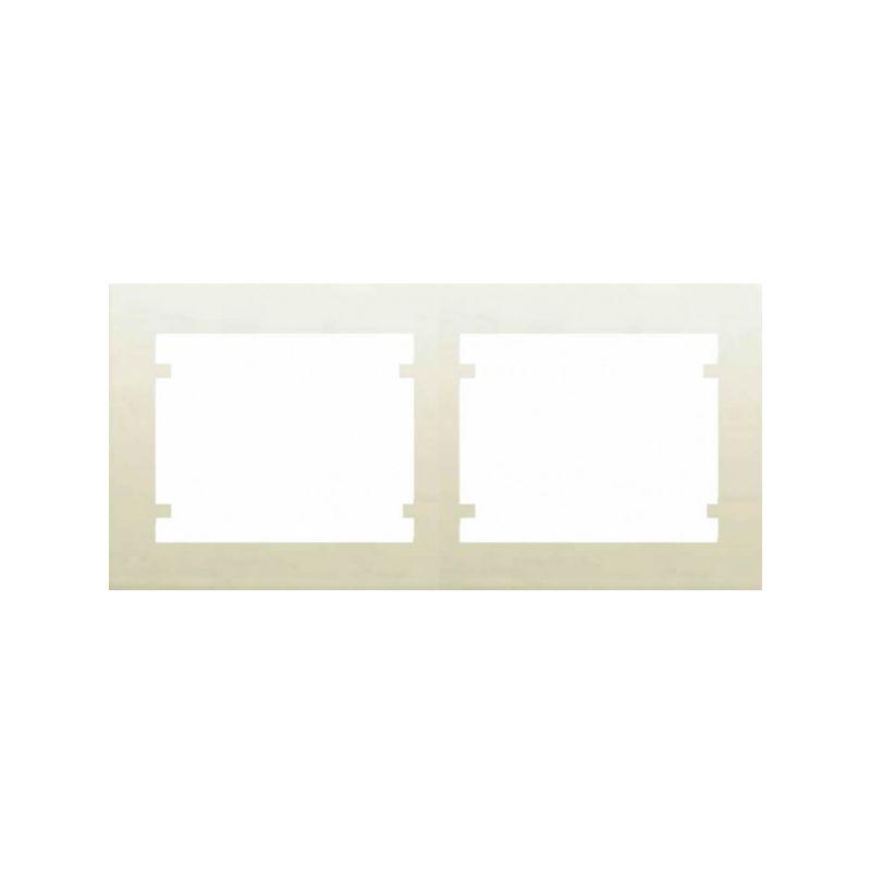 Interruptores y Enchufes por marca BJC Marco 2 Elementos horizontal Beige BJC Iris 18002-A