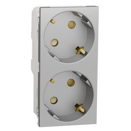 Toma schuko doble Aluminio Schneider New Unica System NU306730A