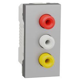 Toma estrecha audio-video 3 RCA aluminio Schneider New Unica NU343130