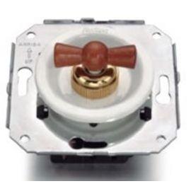 Doble conmutador porcelana blanco + lazo madera haya color miel Fontini Venezia 35-300-16-2