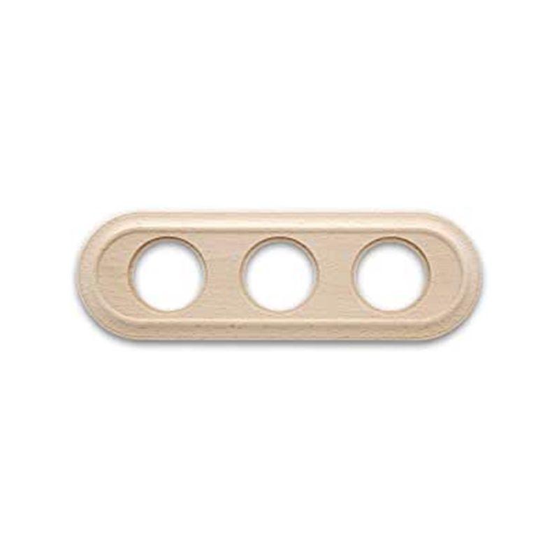 Interruptores y Enchufes por marca FONTINI Marco 3 elementos madera haya sin barniz oval Fontini Venezia 35-803-00-2