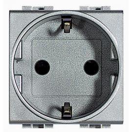 Base enchufe Schuko 2P+T aluminio Bticino Livinglight NT4141