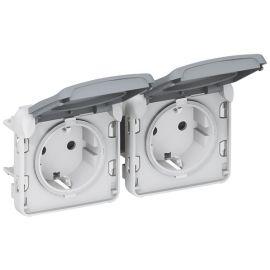 Enchufe doble 2P+T componible gris Legrand Plexo 069576
