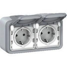 Enchufe doble 2x2P+T monobloc gris Legrand Plexo 069702